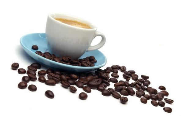 Фото обои кофе, зерна, кружка, эспрессо