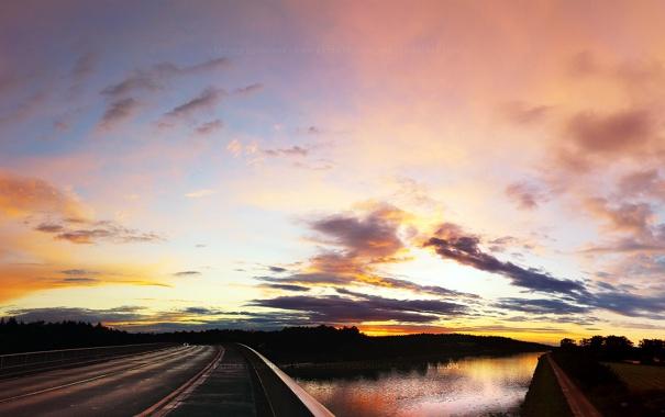 Фото обои Закат, Солнце, Небо, Облака, Дорога, Пейзаж