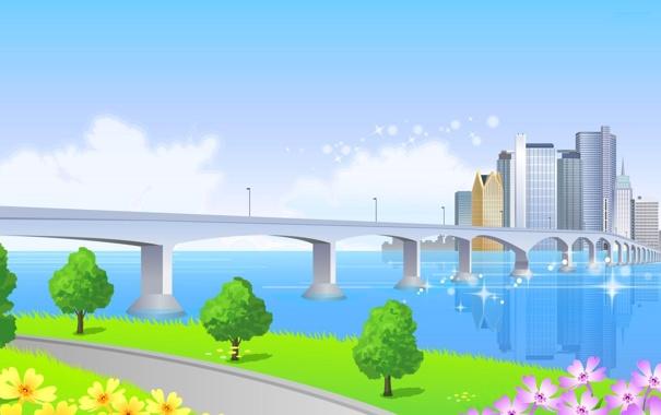 Фото обои небо, цветы, мост, город, река, дома, вектор