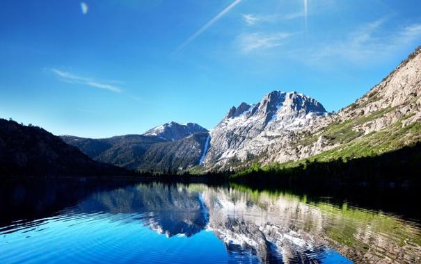 Фото обои небо, солнце, горы, природа, озеро, отражение