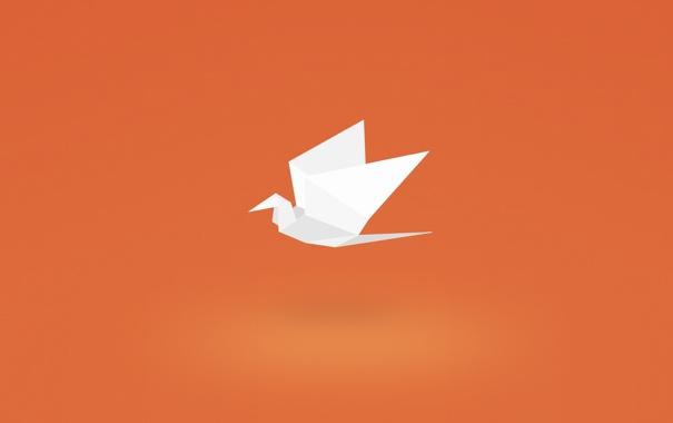 Фото обои бумага, птица, минимализм, журавлик, оригами