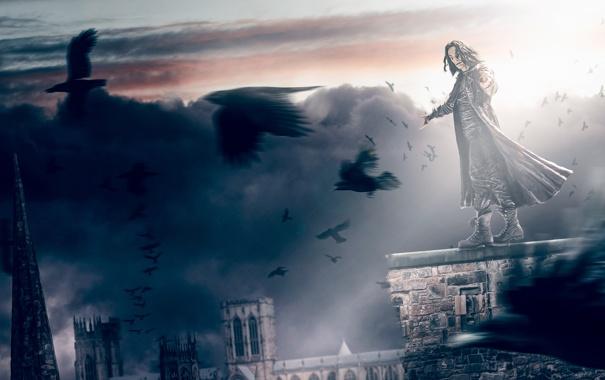 Фото обои город, мрак, Ворон, крыши, вороны, The Crow