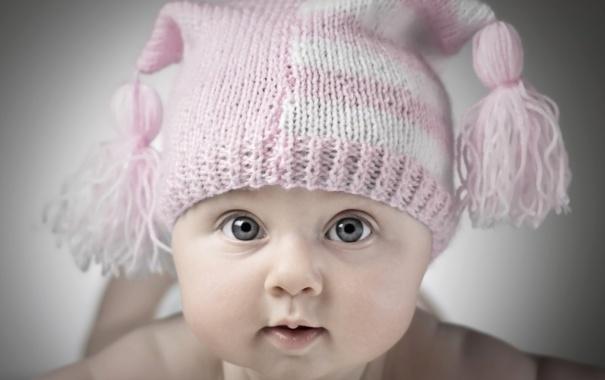 Фото обои малыш, ребёнок, шапочка, младенец, бамбошки