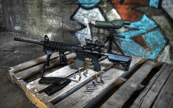 Фото обои оружие, патроны, винтовка, штурмовая, поддон
