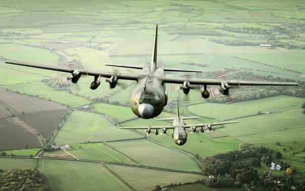 Фото обои ландшафт, самолёты, Hercules, военно-транспортные, C-130K