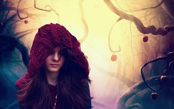 Фото обои девушка, деревья, красный, фон, красное, обои, настроения