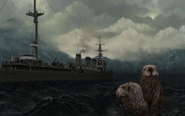 Фото обои море, волны, животные, тучи, пасмурно, корабль, арт