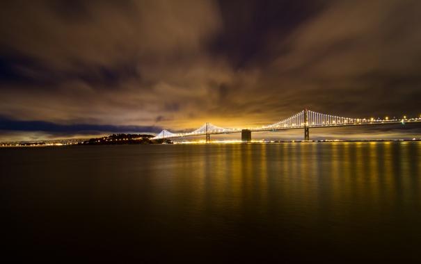 Фото обои USA, Калифорния, San Francisco, ночь, Bay Bridge, огни, залив