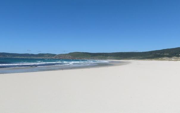 Фото обои Пляж, Море, Панорама, Холмы, Волны, Пейзаж, Песок