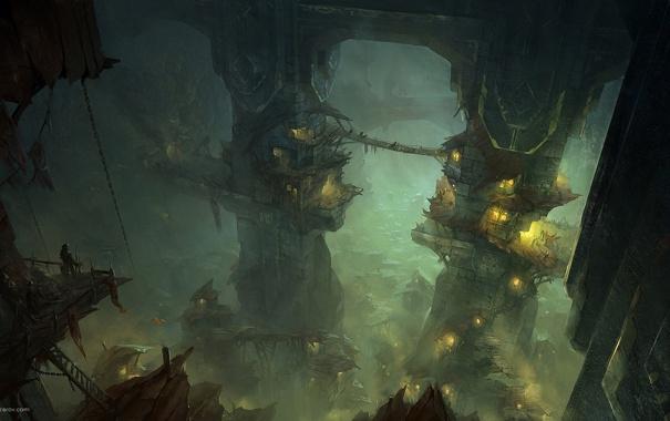 Фото обои город, огни, туман, арт, пещера, гоблины, орки
