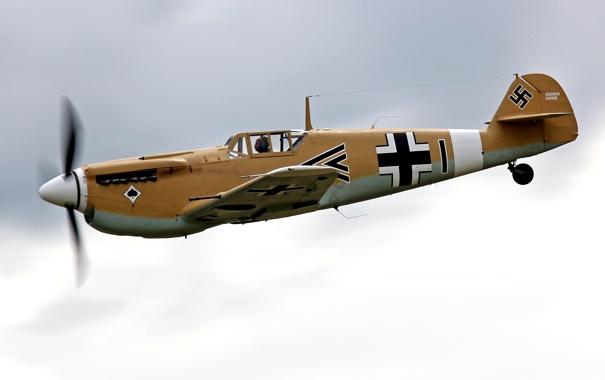 Фото обои небо, истребитель, немецкий, поршневой, одномоторный, Мессершмитт, WW2