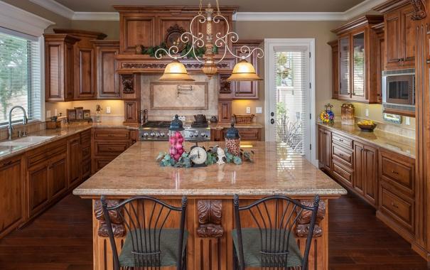 Фото обои дизайн, стиль, дерево, мебель, кухня, люстра, декор