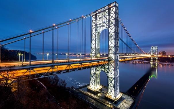 Фото обои дорога, город, огни, река, Нью-Йорк, USA, США
