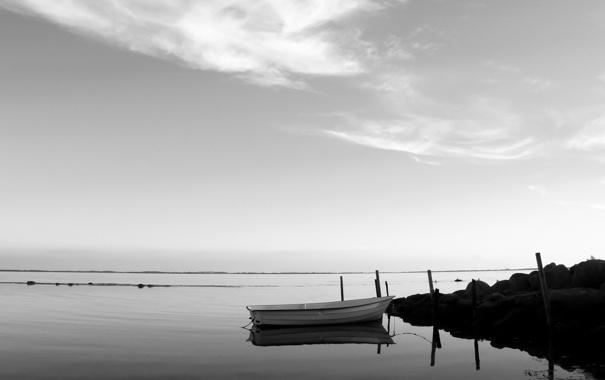 Фото обои небо, вода, фото, лодка, пейзажи, лодки, обои на рабочий стол