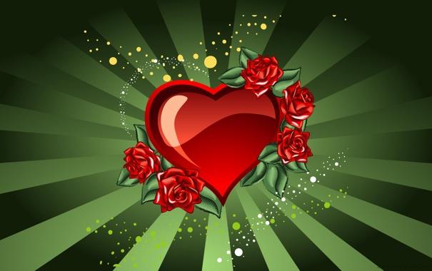 Фото обои любовь, красный, зеленый, сердце, розы, арт, love