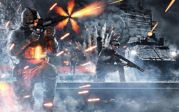 Фото обои взрыв, война, здание, солдаты, танк, war, Battlefield 3