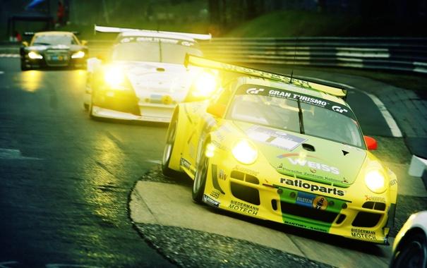 Фото обои авто, гонка, 911, Porsche, поворот, cars, GT3
