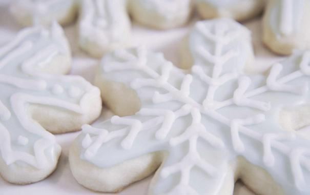 Фото обои снежинки, еда, печенье