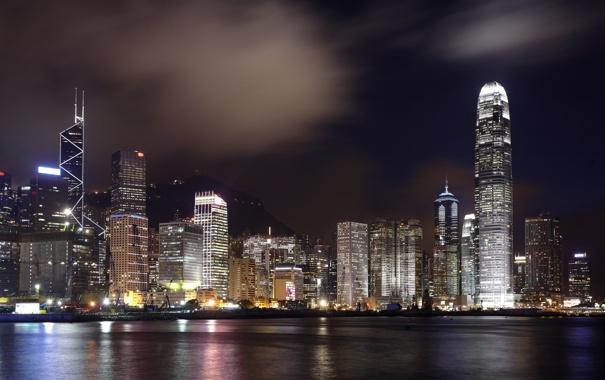 Фото обои ночь, город, огни, Гонконг, небоскребы, Hong Kong, Гавань Виктория