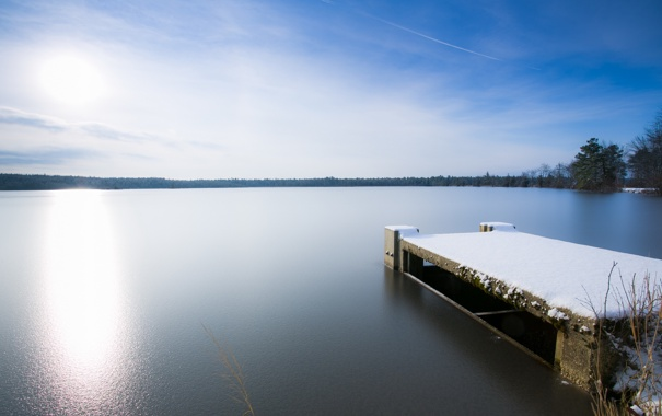 Фото обои зима, мост, озеро