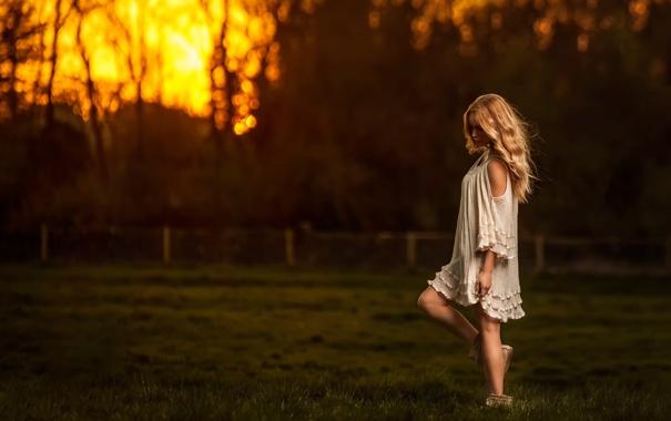Фото обои поле, небо, девушка, закат, Sunset