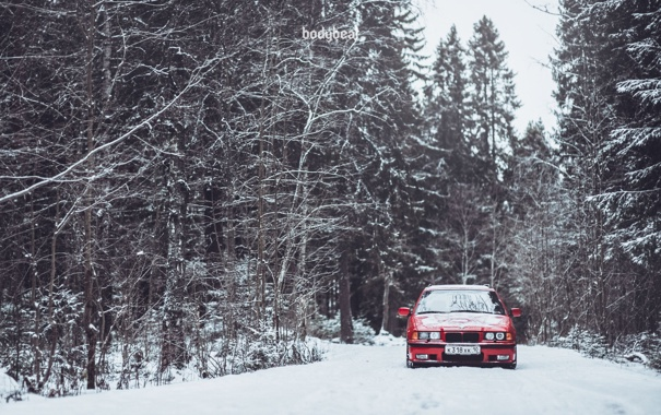 Фото обои Зима, Дорога, Красная, Снег, BMW, БМВ, Red
