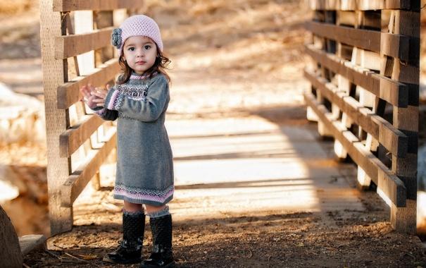 Фото обои мост, настроение, девочка