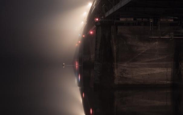 Фото обои ночь, мост, туман, река