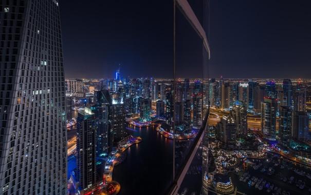 Фото обои ночь, город, отражение, небоскреб, окно, Дубаи