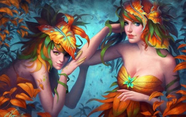 Фото обои листья, девушки, растения, арт