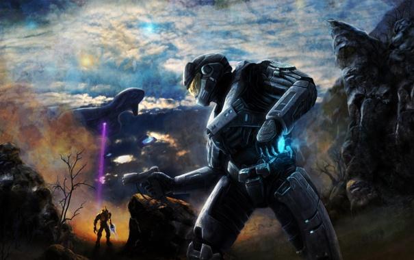 Фото обои небо, горы, пистолет, корабль, скафандр, солдат, шлем