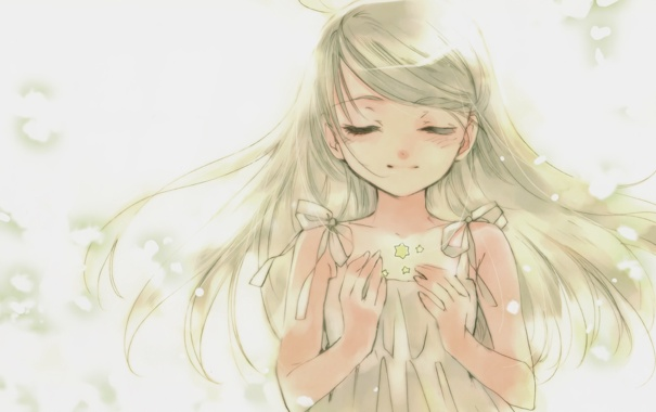 Фото обои рисунок, девочка, звездочки, dee, kuramoto kaya, little stars on the earth