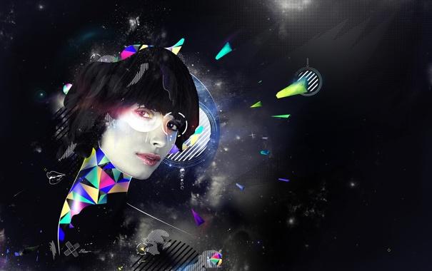 Фото обои глаза, девушка, космос, лицо, губы