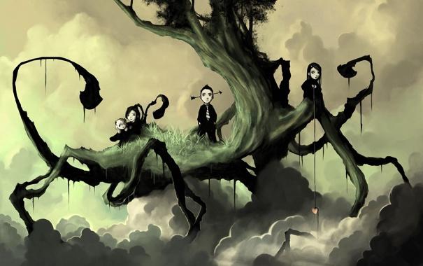 Фото обои облака, дерево, девочки, сердце, мальчик, арт, стрела