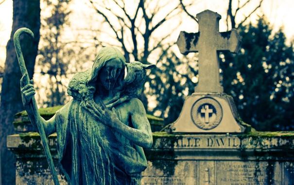 Фото обои крест, памятник, кладбище, бетон, уныло, неизбежно
