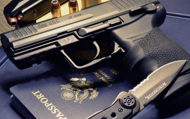 Фото обои пистолет, нож, полуавтоматический, HK45C