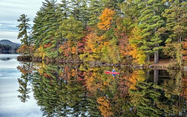 Фото обои осень, пейзаж, озеро, лодка