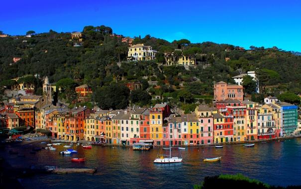 Фото обои город, побережье, Liguria, дома, фото, Portofino, Италия