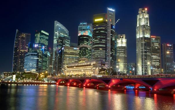 Фото обои ночь, мост, city, Сингапур, высотки, Singapore, мега
