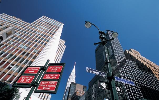 Фото обои city, знак, знаки, указатель, Manhattan, new york
