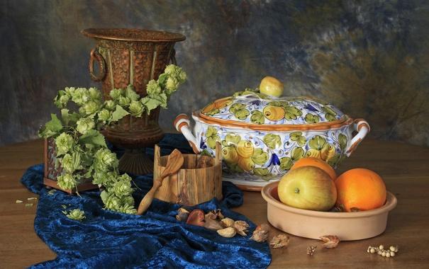 Фото обои яблоко, апельсин, посуда, хмель