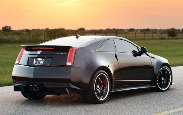 Фото обои дорога, поле, небо, чёрный, Cadillac, тюнинг, вид сзади