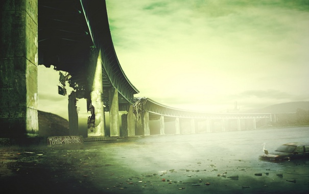 Фото обои машина, птица, Мост, разруха, водоем