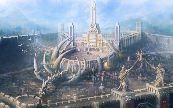 Фото обои город, замок, вид, арт, кости, скелет, арена