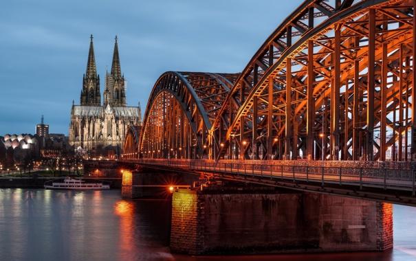 Фото обои мост, река, Германия, Germany, Кёльн, Cologne, Рейн
