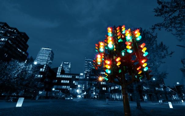 Фото обои ночь, желтый, красный, город, зеленый, улица, площадь