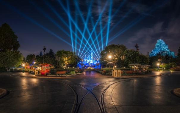 Фото обои деревья, ночь, дизайн, огни, парк, замок, дороги