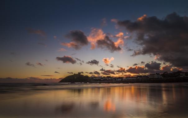 Фото обои пляж, закат, город, океан, Criccieth Beach