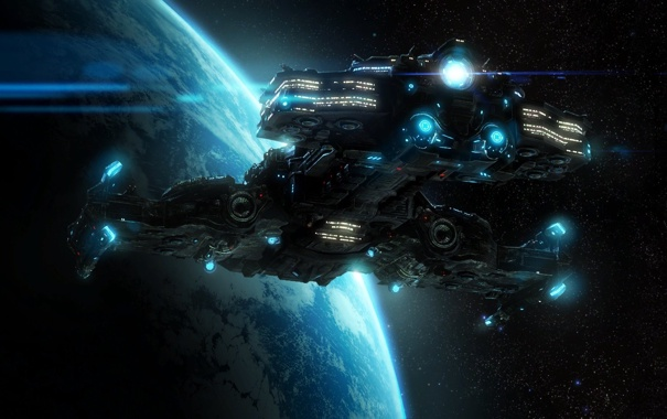 Фото обои звезды, планета, starcraft2, линейный крейсер