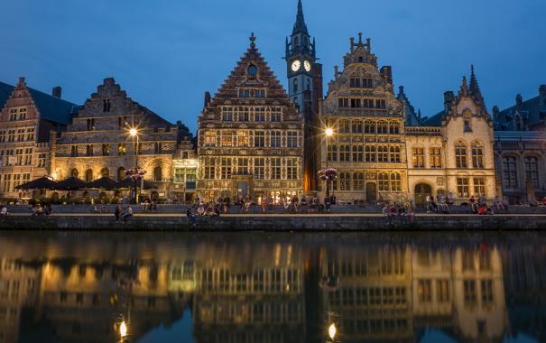 Фото обои небо, канал, вечер, огни, Фландрия, Бельгия, люди